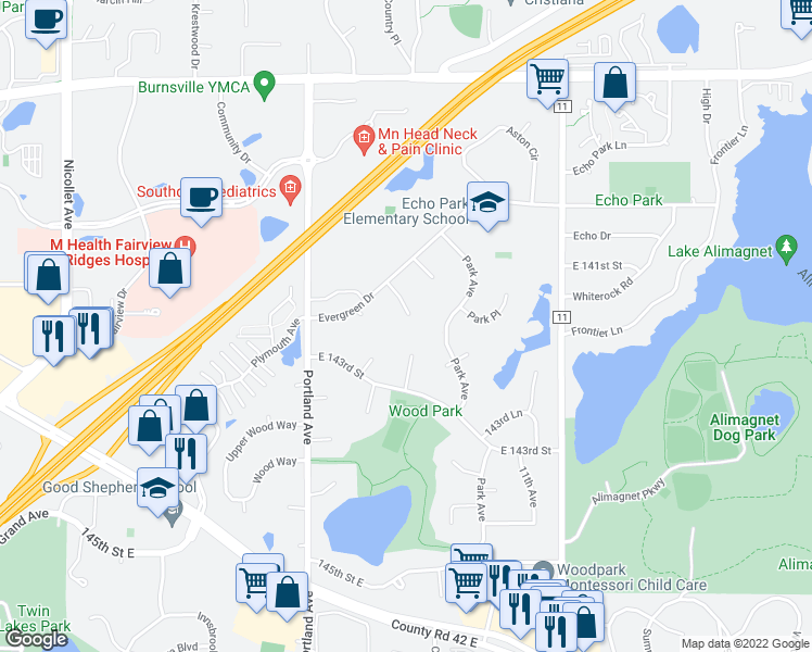 map of restaurants, bars, coffee shops, grocery stores, and more near 729 Evergreen Court in Burnsville