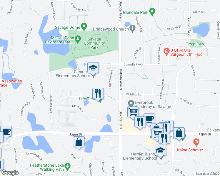 map of restaurants, bars, coffee shops, grocery stores, and more near Edgewood Avenue in Savage