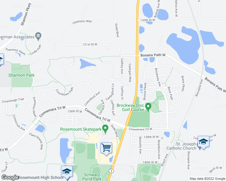 map of restaurants, bars, coffee shops, grocery stores, and more near 13436 Coachford Avenue in Rosemount