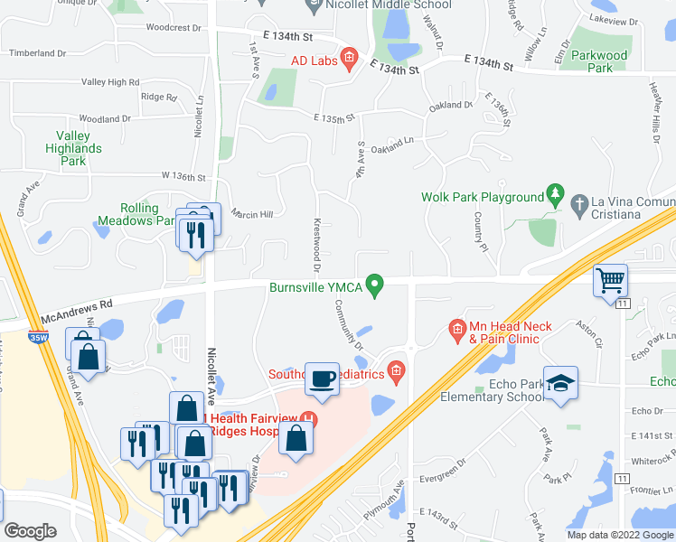 map of restaurants, bars, coffee shops, grocery stores, and more near 320 East 138th Street in Burnsville