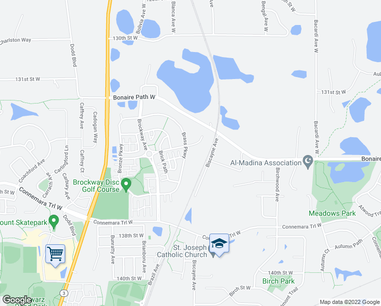 map of restaurants, bars, coffee shops, grocery stores, and more near 13552 Brass Parkway in Rosemount