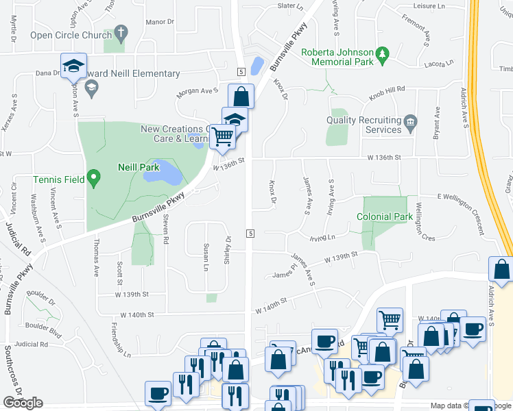 map of restaurants, bars, coffee shops, grocery stores, and more near 1808 Knox Drive in Burnsville