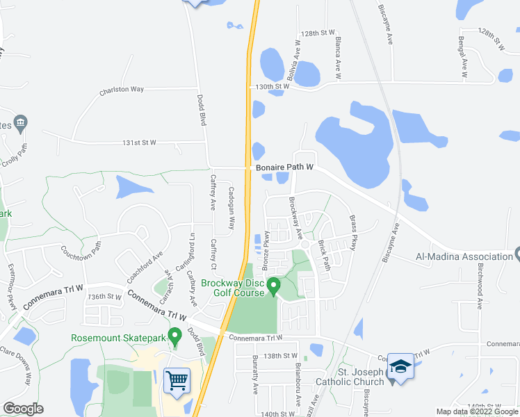 map of restaurants, bars, coffee shops, grocery stores, and more near 13279 Bronze Parkway in Rosemount