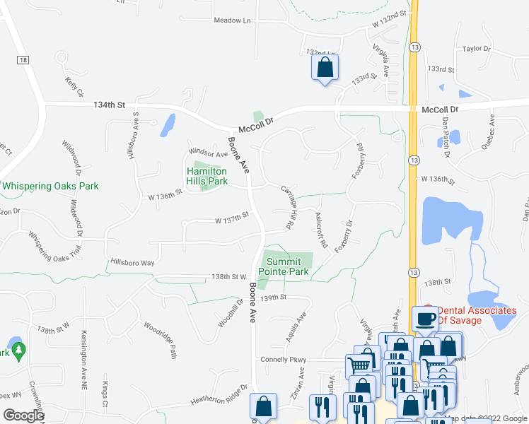map of restaurants, bars, coffee shops, grocery stores, and more near 13600 Ashcroft Road in Savage