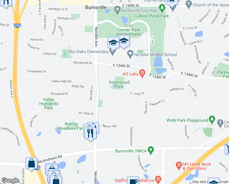 map of restaurants, bars, coffee shops, grocery stores, and more near 113 East 135th Street in Burnsville