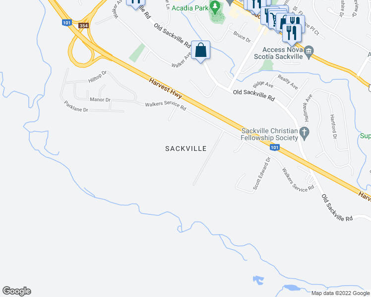 map of restaurants, bars, coffee shops, grocery stores, and more near in Lower Sackville