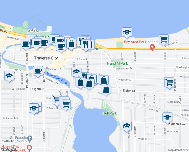 map of restaurants, bars, coffee shops, grocery stores, and more near 521 Webster Street in Traverse City
