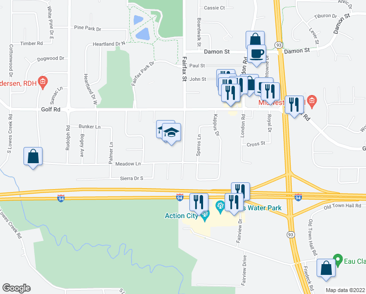map of restaurants, bars, coffee shops, grocery stores, and more near 4748-4784 Fairfax Street in Eau Claire