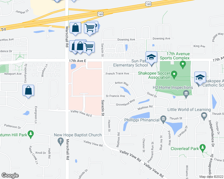 map of restaurants, bars, coffee shops, grocery stores, and more near 1848 Anton Way in Shakopee