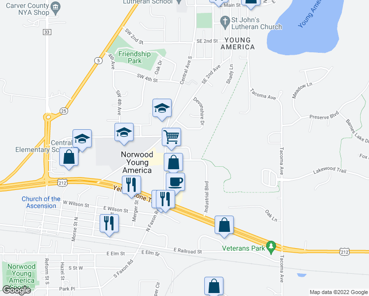 map of restaurants, bars, coffee shops, grocery stores, and more near 10 Poplar Ridge Drive in Norwood Young America