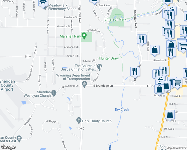 map of restaurants, bars, coffee shops, grocery stores, and more near 2173 Skyview West Drive in Sheridan