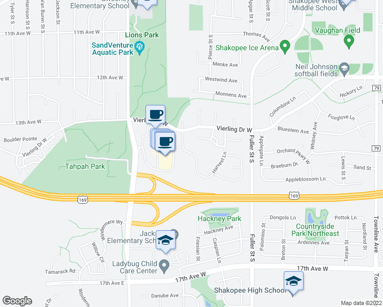 map of restaurants, bars, coffee shops, grocery stores, and more near 1601 Harvest Lane in Shakopee
