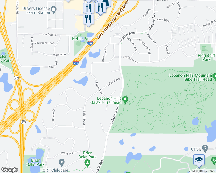 map of restaurants, bars, coffee shops, grocery stores, and more near 4854 Safari Pass in Eagan