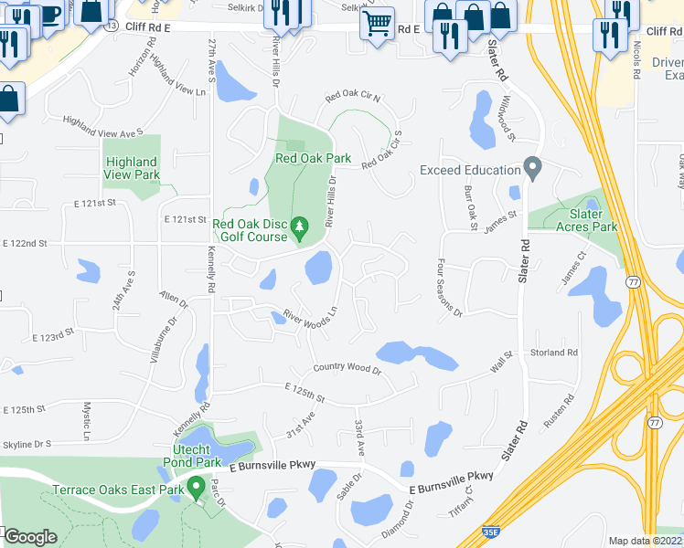 map of restaurants, bars, coffee shops, grocery stores, and more near 283 River Woods Lane in Burnsville