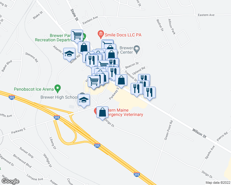 map of restaurants, bars, coffee shops, grocery stores, and more near 22 Parkway South in Brewer