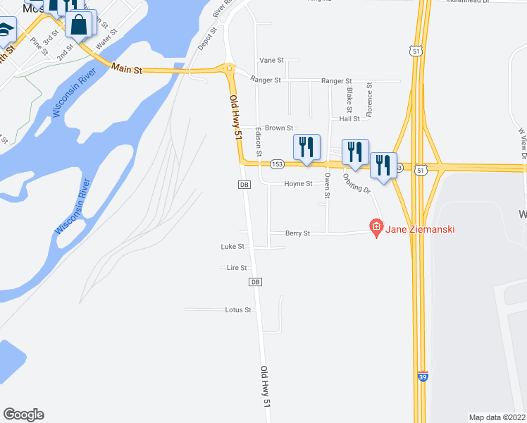 map of restaurants, bars, coffee shops, grocery stores, and more near 445 Super Street in Mosinee