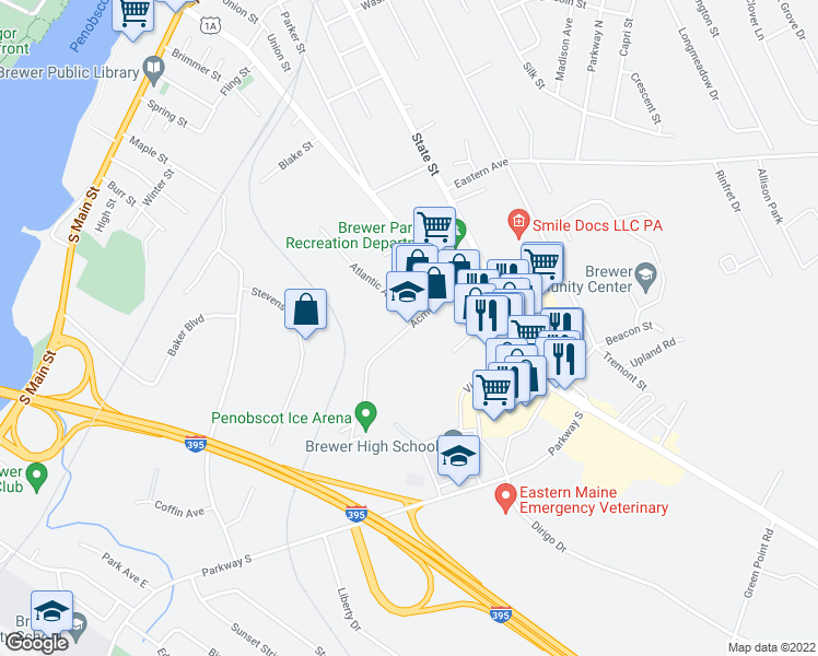 map of restaurants, bars, coffee shops, grocery stores, and more near 60-98 Acme Road in Brewer