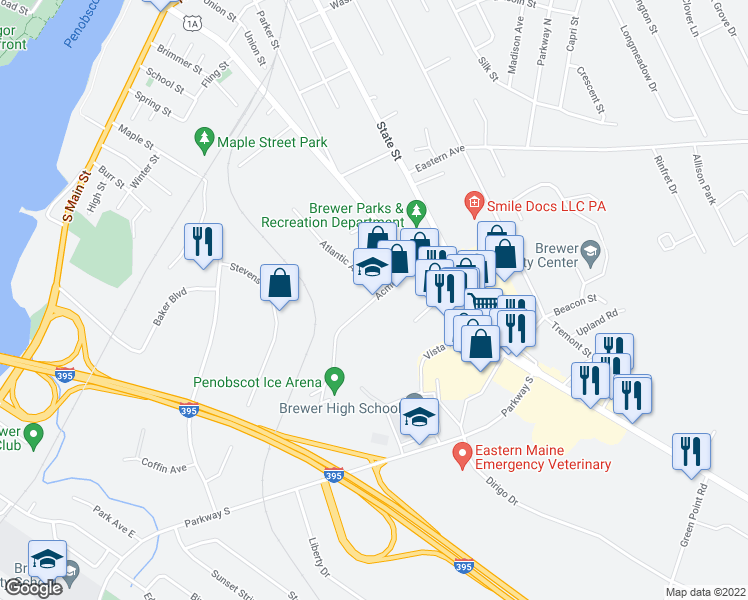 map of restaurants, bars, coffee shops, grocery stores, and more near 61-99 Acme Road in Brewer
