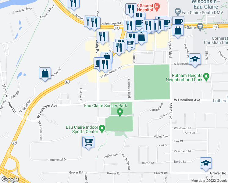 map of restaurants, bars, coffee shops, grocery stores, and more near 1117 Imperial Cir in Eau Claire