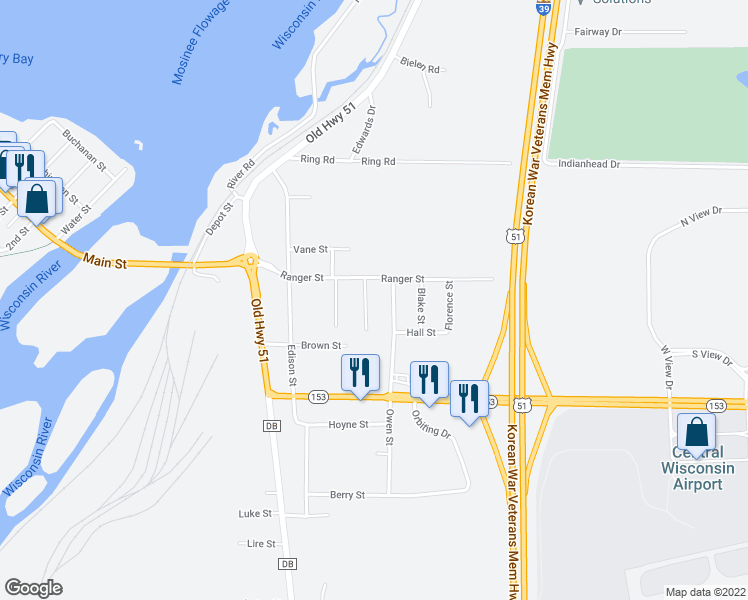 map of restaurants, bars, coffee shops, grocery stores, and more near 582 Lincoln Street in Mosinee
