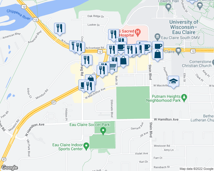 map of restaurants, bars, coffee shops, grocery stores, and more near 1026 West Macarthur Avenue in Eau Claire