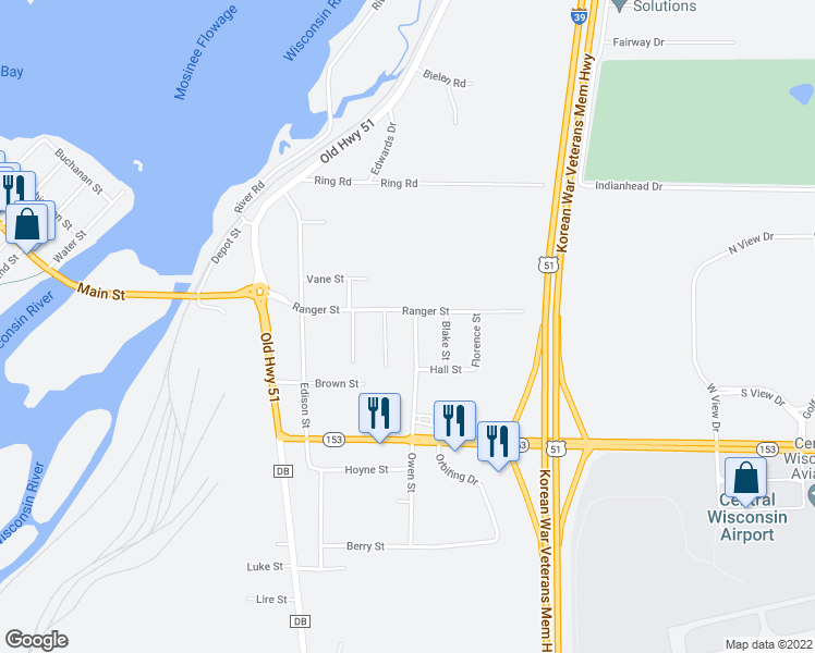 map of restaurants, bars, coffee shops, grocery stores, and more near 589 Cherry St in Mosinee