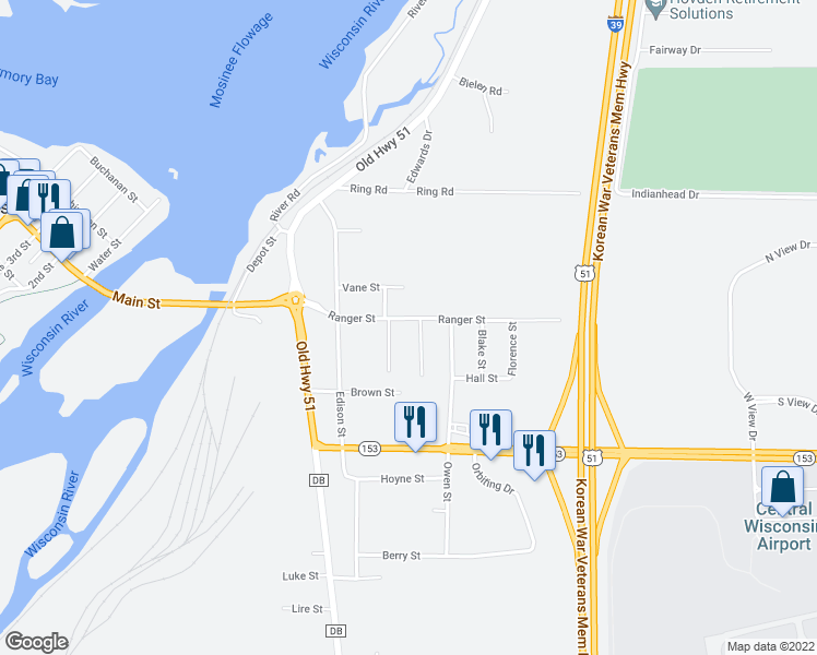 map of restaurants, bars, coffee shops, grocery stores, and more near 553 Ranger Street in Mosinee