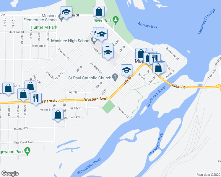 map of restaurants, bars, coffee shops, grocery stores, and more near 706 5th Street in Mosinee