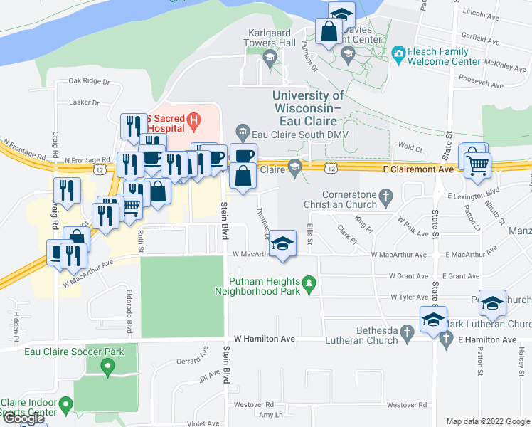 map of restaurants, bars, coffee shops, grocery stores, and more near 2703 Thomas Drive in Eau Claire