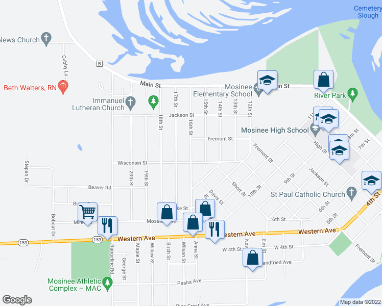 map of restaurants, bars, coffee shops, grocery stores, and more near 16th Street in Mosinee