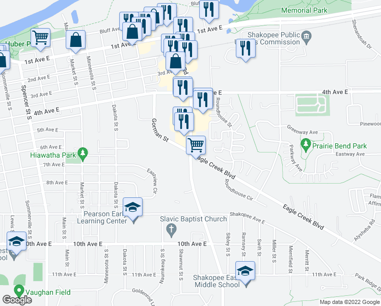 map of restaurants, bars, coffee shops, grocery stores, and more near Marschall Rd & Gorman St in Shakopee