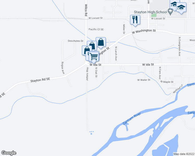 map of restaurants, bars, coffee shops, grocery stores, and more near 212 North Oak Street in Stayton
