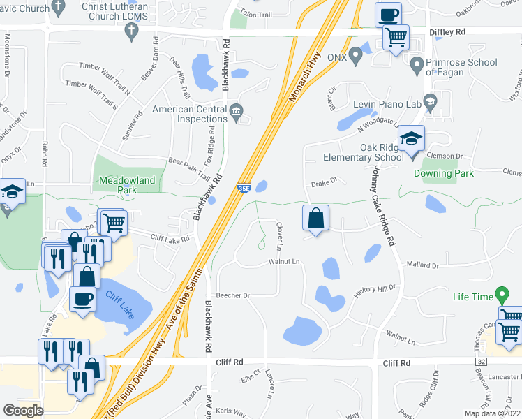 map of restaurants, bars, coffee shops, grocery stores, and more near 4455 Clover Lane in Eagan