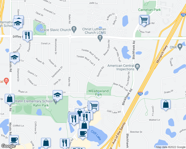 map of restaurants, bars, coffee shops, grocery stores, and more near 4310 Beaver Dam Road in Eagan
