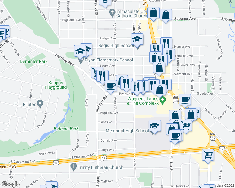 map of restaurants, bars, coffee shops, grocery stores, and more near 1812 Brackett Avenue in Eau Claire