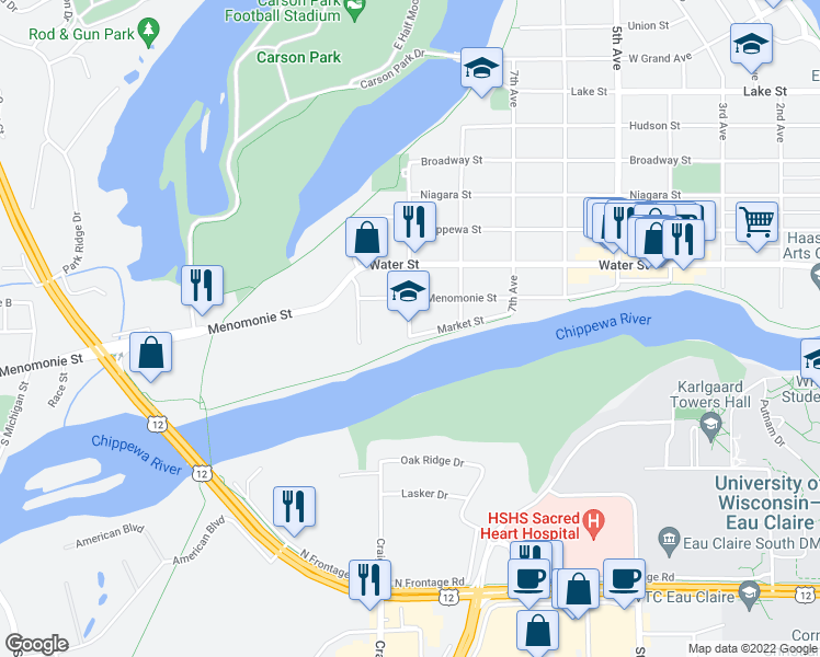 map of restaurants, bars, coffee shops, grocery stores, and more near 2-98 9th Avenue in Eau Claire