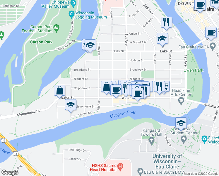 map of restaurants, bars, coffee shops, grocery stores, and more near 622 Chippewa St in Eau Claire