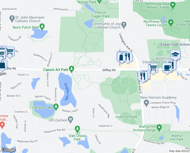 map of restaurants, bars, coffee shops, grocery stores, and more near 1178 Lexington Ridge Court in Eagan
