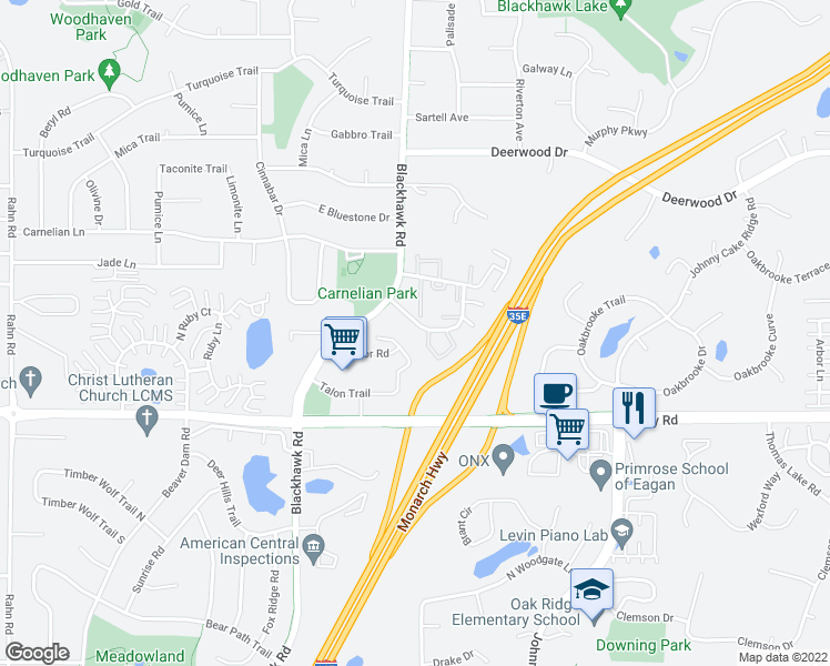 map of restaurants, bars, coffee shops, grocery stores, and more near 4180 South Meadowlark Road in Eagan