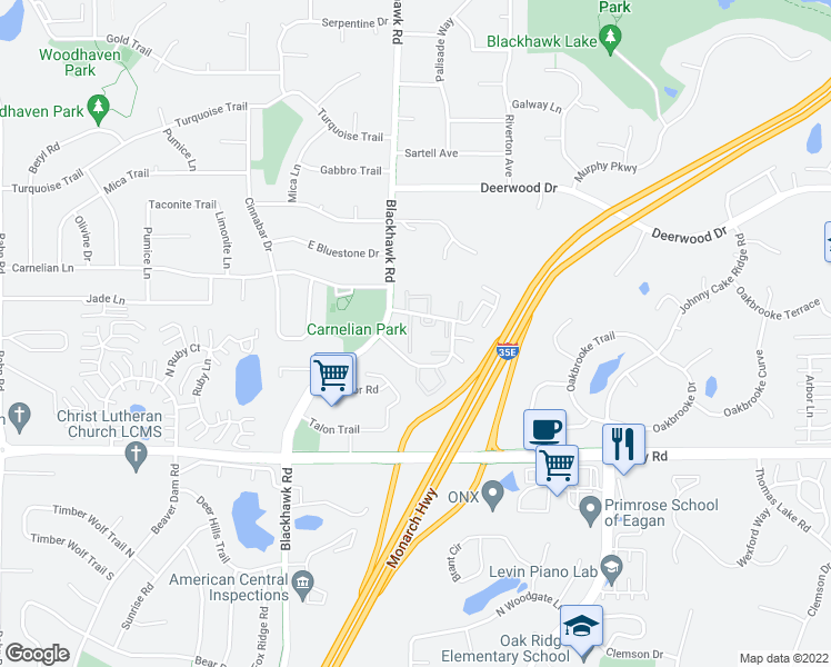map of restaurants, bars, coffee shops, grocery stores, and more near 1762 Meadowlark Road in Eagan