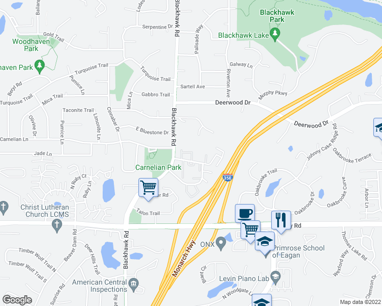 map of restaurants, bars, coffee shops, grocery stores, and more near 1765 Meadowlark Court in Eagan