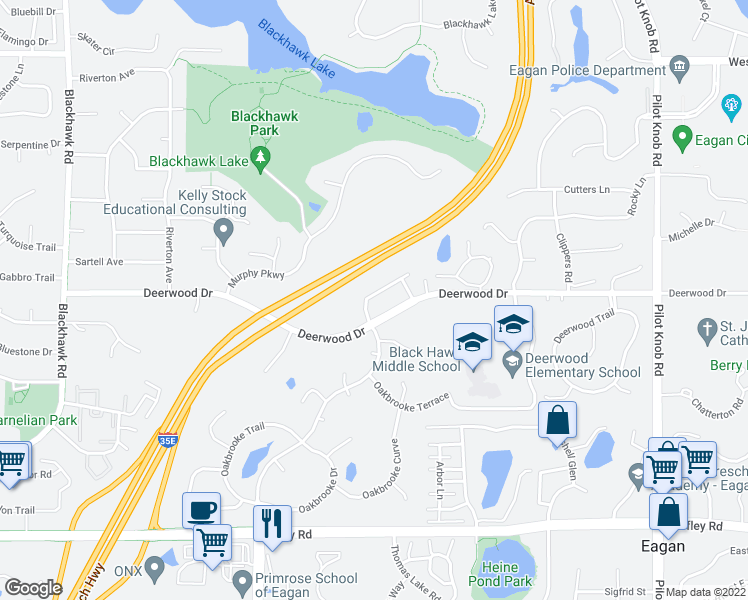 map of restaurants, bars, coffee shops, grocery stores, and more near 1582 Antler Point in Eagan
