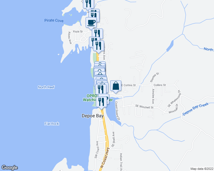 map of restaurants, bars, coffee shops, grocery stores, and more near 75 Bay Street in Depoe Bay