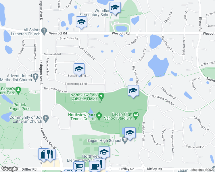 map of restaurants, bars, coffee shops, grocery stores, and more near 931 Savannah Road in Eagan