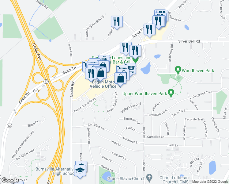 map of restaurants, bars, coffee shops, grocery stores, and more near 2129 Cedar Grove Trail in Eagan