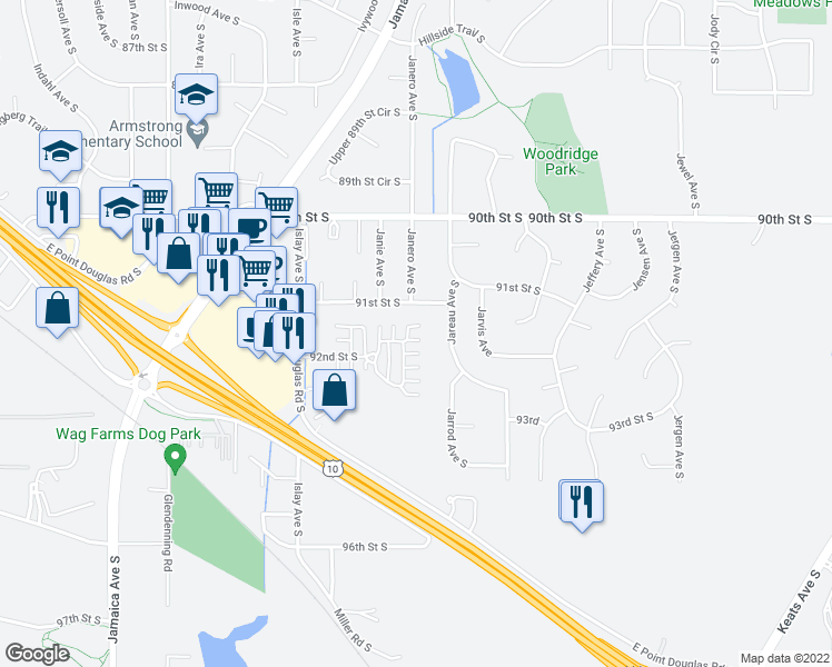 map of restaurants, bars, coffee shops, grocery stores, and more near 8952 92nd Street South in Cottage Grove