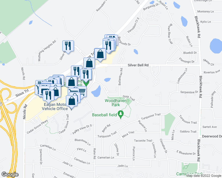 map of restaurants, bars, coffee shops, grocery stores, and more near 3871 Gold Point in Eagan