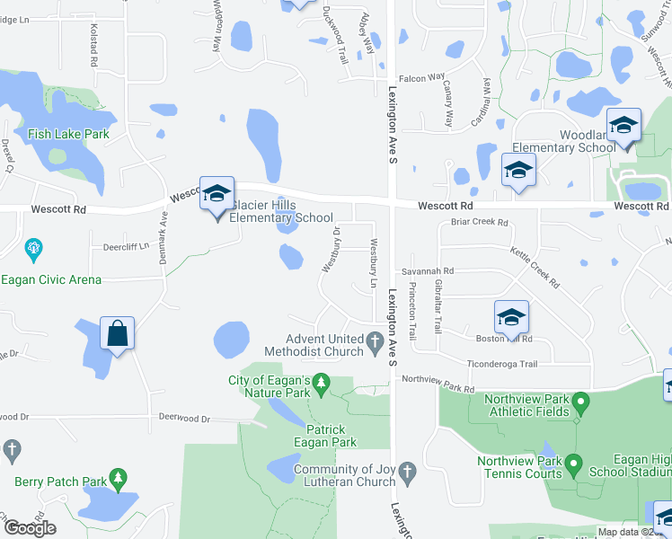 map of restaurants, bars, coffee shops, grocery stores, and more near 3860 Westbury Drive in Eagan