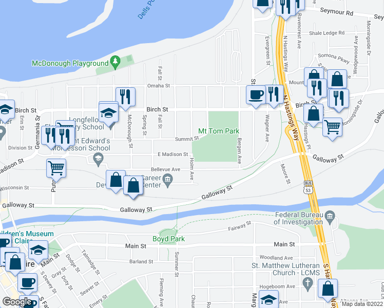 map of restaurants, bars, coffee shops, grocery stores, and more near E Madison St & Holm Ave in Eau Claire