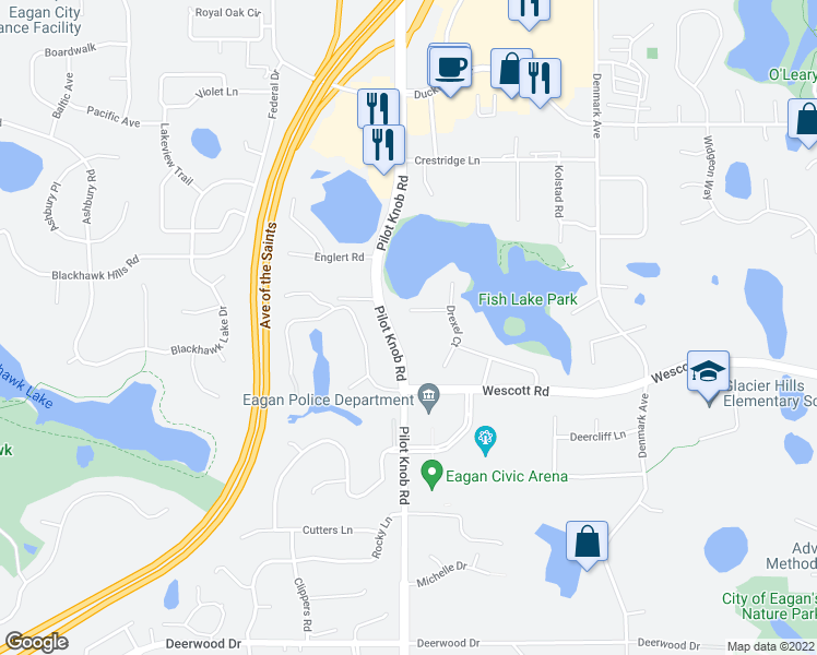 map of restaurants, bars, coffee shops, grocery stores, and more near 1390 Braun Court in Eagan
